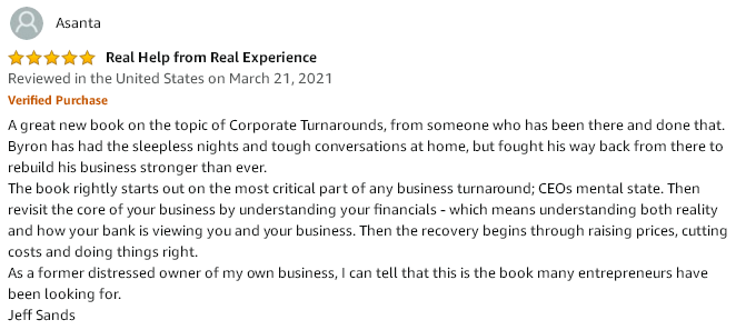 Amazon 5-start review testimonial describing how the book starts out with mental state then revisits the core of understanding financials.